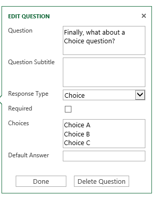 Choice answer settings