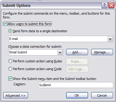 Submit Options dialog