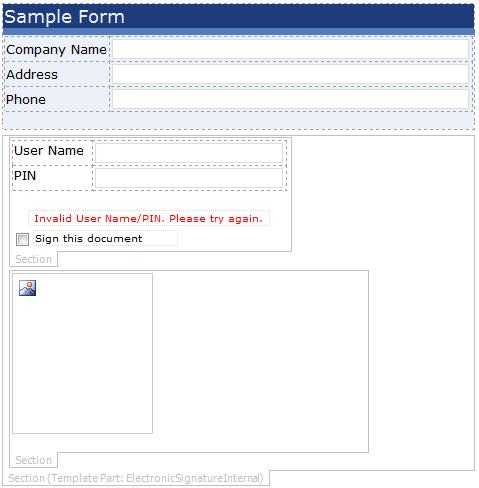 signing in form template