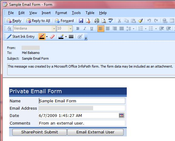 Using InfoPath E-mail Forms to Communicate with External Users - Mel ...