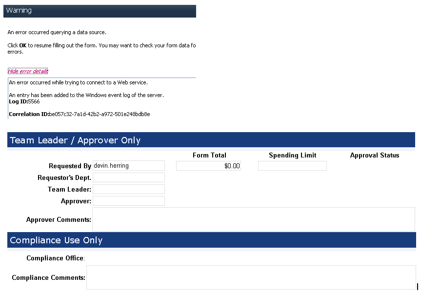 web based form