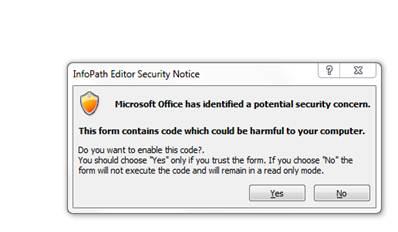 Infopath Security Warning - InfoPath Dev