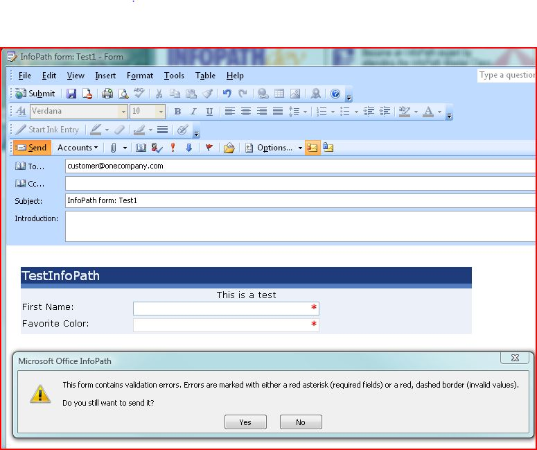 Problem publishing InfoPath 2007 template to email - InfoPath Dev