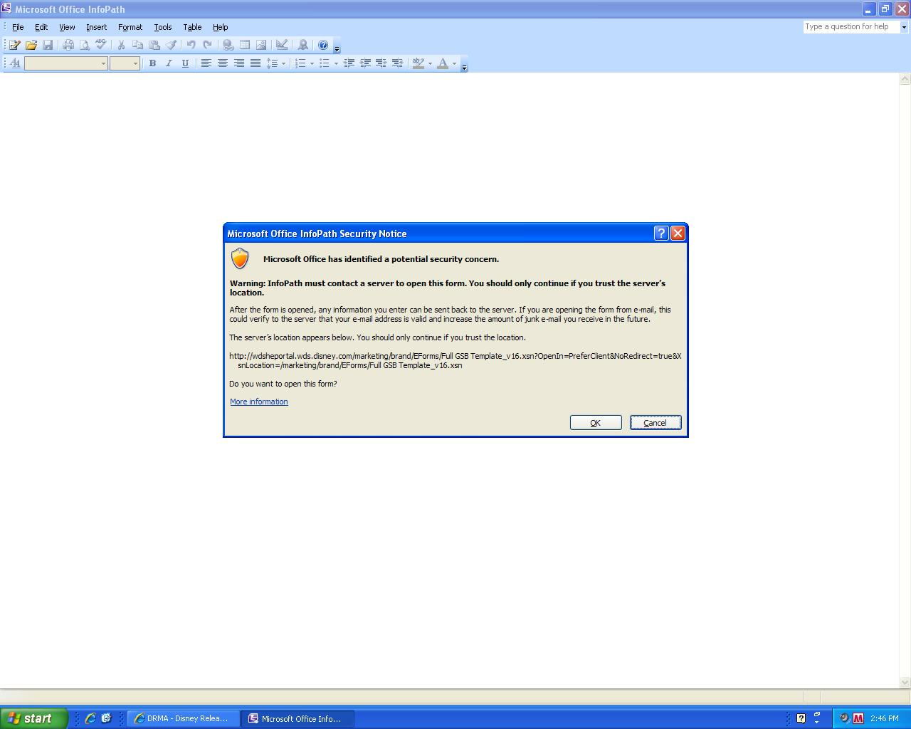 Warning or Error opening form in Infopath 2007 from Network ...